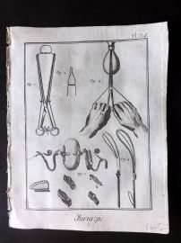 Diderot 1780's Antique Medical Print. Chirurgie 34 Surgical Instruments